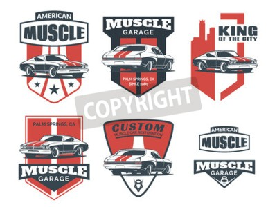 Canvas print Set of classic muscle car icon, emblems, badges and icons isolated on white background. Service car repair, car restoration and car club design elements.