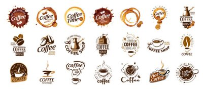 Canvas print Set of coffee logos. Vector illustration on white background