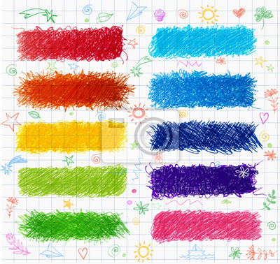 Set of colored doodle sketch banners.