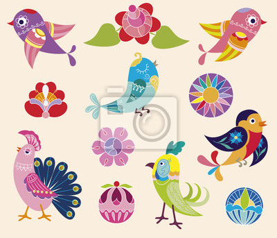 Set of decorative birds and flowers