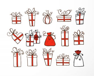 Set of doodle sketch gift boxes with red ribbond on white background.
