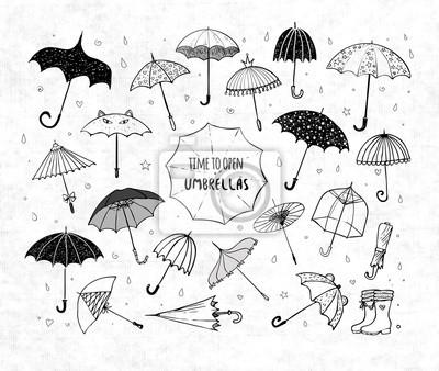 Set of doodle sketch umbrellas on rice paper background