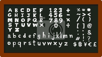 set of English alphabets numbers and symbols on chalkboard