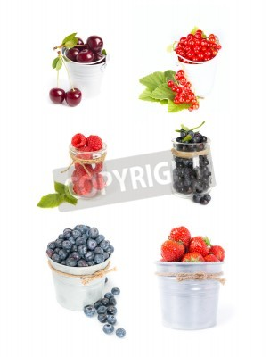 Set of fresh berries fruits isolated on white: cherry, strawberry, raspberry, blueberry, red current