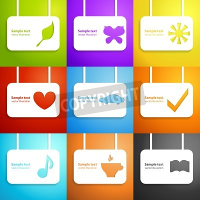 Set of funny colorful holiday applique background. Vector illustrations for your business design.