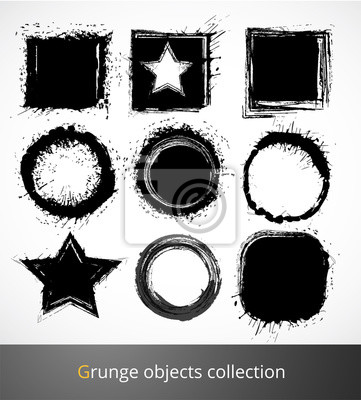 Canvas print Set of grunge elements. Vector illustration.