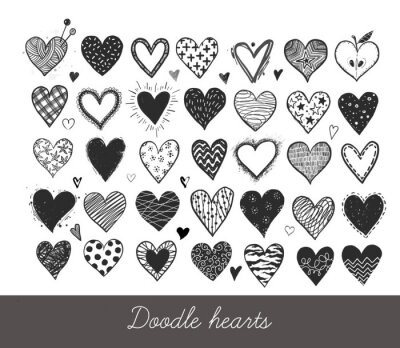 Set of hand drawn doodle sketch hearts. Vector illustration