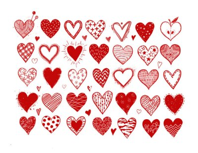 Set of hand drawn red doodle sketch hearts on white background.