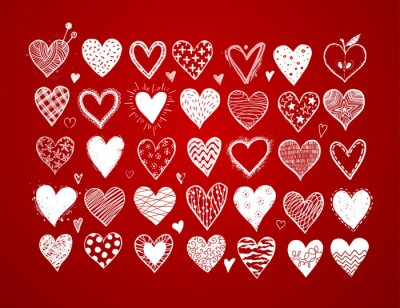 Set of hand drawn white doodle sketch hearts on red background. Vector illustration.