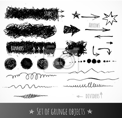 Set of ink grunge objects for your design.