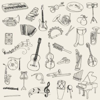 Canvas print Set of Music Instruments - hand drawn in vector