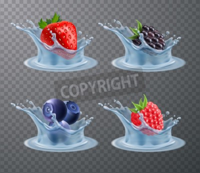Set of realistic berries strawberry, raspberry, blueberry in water splashes isolated on transparent background vector illustration