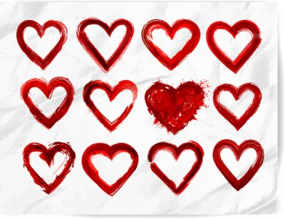 Set of red grunge hearts on realistic white paper background