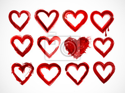 Set of red grunge hearts on white background.