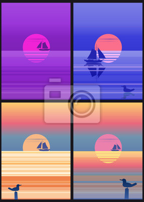 Set of Sea landscape cards template with sailing boat minimalistic illustration. Seascape sunrise or sunset. Ocean scene with rising sun, sailboat, mountains and sky. Rocky coast in blue color vector