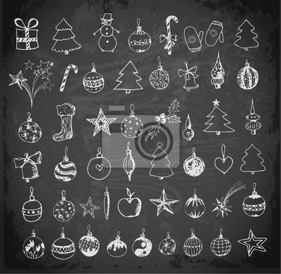 Set of sketch Christmas and New Year objects