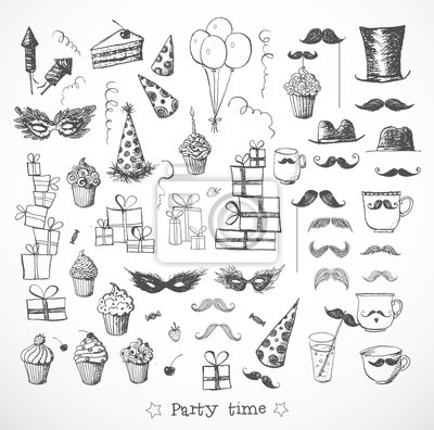 Canvas print Set of sketch party objects hand-drawn with ink