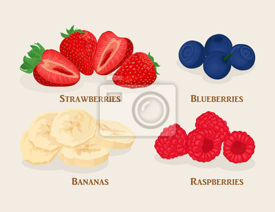 Set of sliced fruit and berries. Bananas, strawberry, raspberry, blueberry isolated on light background. Vector illustration.