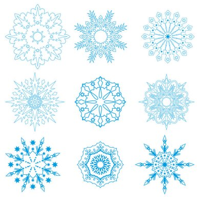 Set of snowflakes of different geometric designs