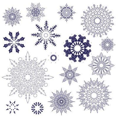 Set of snowflakes of different geometric designs. Vector