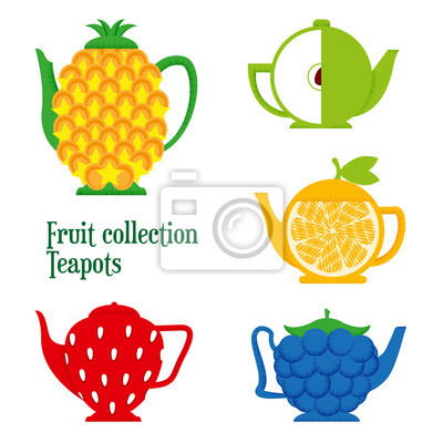 Set of teapots in the shape of fruits: Apple, lemon, BlackBerry,