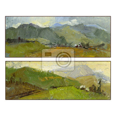 Set of two summer mountain landscapes. Oil painting. Hand painted. Square frame. Can be used for greeting cards as a nature background.