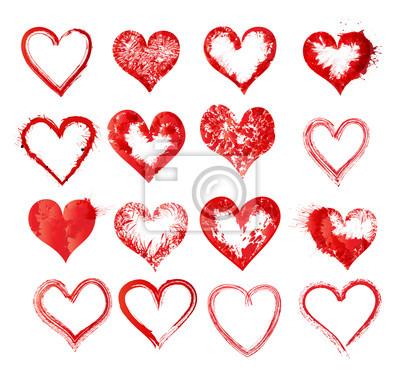 Canvas print Set of vector sketch hearts