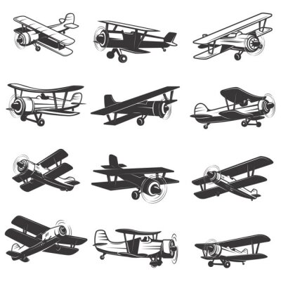 Canvas print set of vintage airplanes icons. Aircraft illustrations. Design element for logo, label, emblem, sign. Vector illustration.