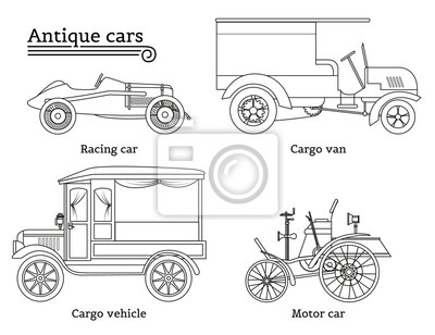 Canvas print Set of vintage cars. Vector