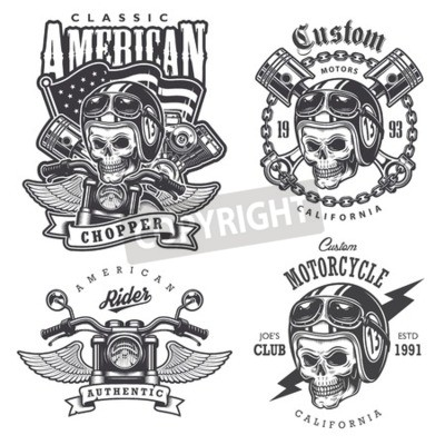 Canvas print Set of Vintage motorcycle  t-shirt prints, emblems, labels, badges and logos. Monochrome style. Isolated on white background