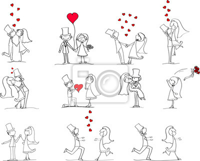 set of wedding pictures, bride and groom in love, vector