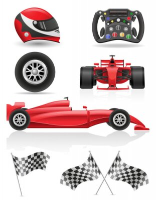 Canvas print set racing icons vector illustration EPS 10
