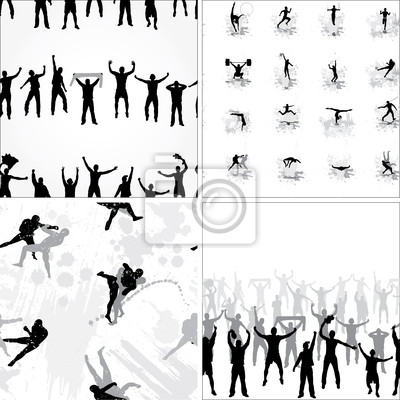 Set seamless background from sport silhouettes