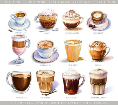 Canvas print Set with diferent coffee drinks for cafe or coffeehouse menu. Illustration of strong espresso, gentle latte, sweet macchiato and cappuccino, Viennese coffee and glace with ice cream.