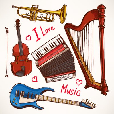 Canvas print Set with hand-drawn Musical instruments