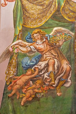Canvas print Seville - fresco of angel with the roses