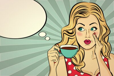 Canvas print Sexy blonde pop art woman with coffee cup