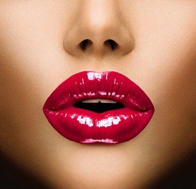 Canvas print Sexy Lips. Beautiful Make-up Closeup. Kiss
