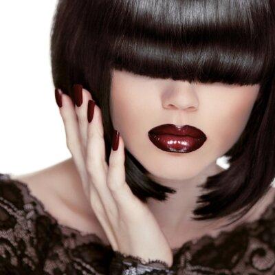 Canvas print Sexy Lips. Manicure and Makeup. Lipstick. Fashion Girl. Fringe.