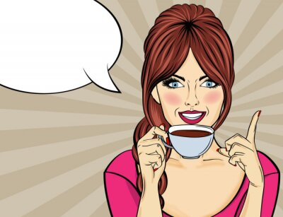 Canvas print Sexy pop art woman with coffee cup