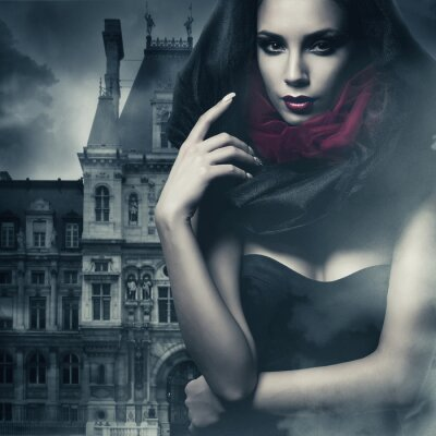 Canvas print sexy woman in black hood and castle