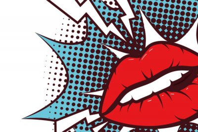 Canvas print sexy woman mouth with splash expression pop art style