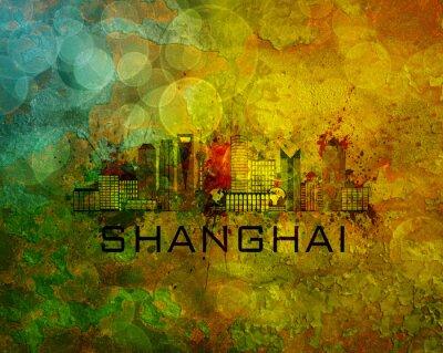 Canvas print Shanghai City Skyline on Grunge Background Illustration