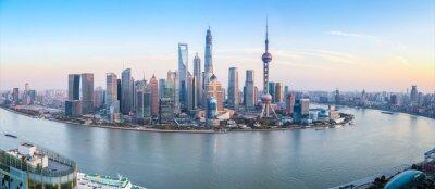 Canvas print shanghai skyline panoramic view