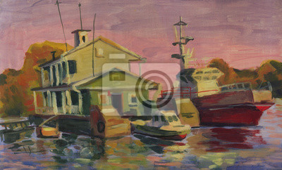 Canvas print ship, a boats on a river pier. Oil painting