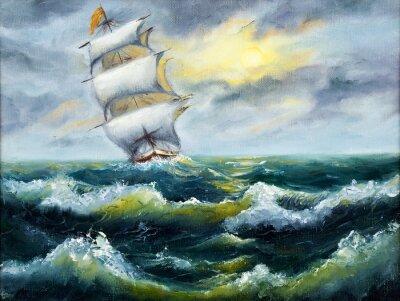Canvas print Ship in ocean