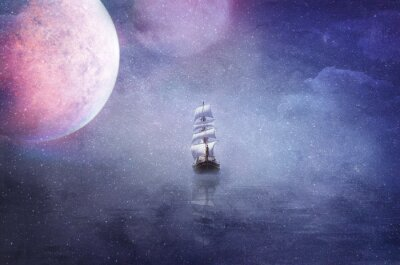 Canvas print ship in the vastness of the universe background illustration