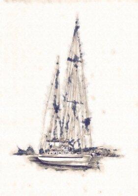 Canvas print Ship on the sea or ocean art illustration