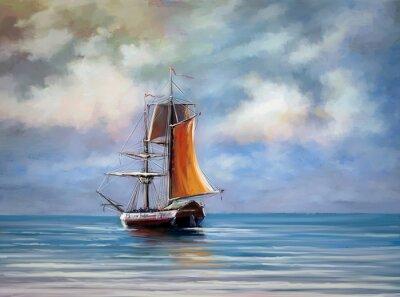Canvas print Ship, sea. Landscape. Oil digital paintings.