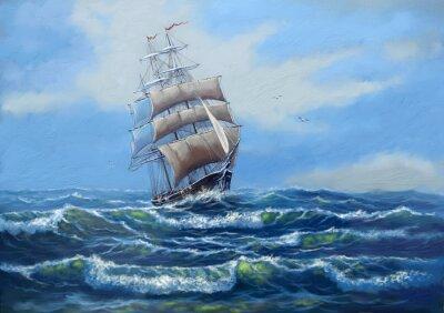 Canvas print Ship, sea oil paintings landscape, art